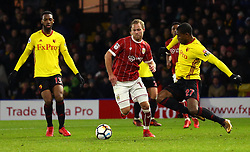 Gustav Engvall of Bristol City is tackled by Christian Kabasele of Watford - Mandatory by-line: Robbie Stephenson/JMP - 06/01/2018 - FOOTBALL - Vicarage Road - Watford, England - Watford v Bristol City - Emirates FA Cup third round proper