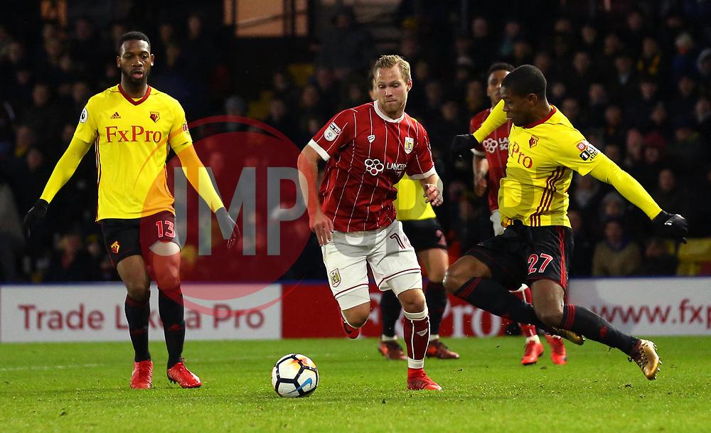 Gustav Engvall of Bristol City is tackled by Christian Kabasele of Watford - Mandatory by-line: Robbie Stephenson/JMP - 06/01/2018 - FOOTBALL - Vicarage Road - Watford, England - Watford v Bristol City - Emirates FA Cup third round proper