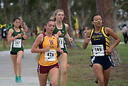 Nov 1, 2017; Long Beach, CA, USA; Sabrina Del Bello of Long Beach Wilson (426) and Tiana Prince of Millikan (195) run in the girls race during the Moore League cross country finals at Heartwell Park. Prince placed third in 18:27 and Del Bello was fifth in 18:56.