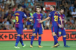 August 7, 2017 - Barcelona, Spain - Denis Suarez of FC Barcelona celebrates with his teammates after scoring a goal during the 2017 Joan Gamper Trophy football match between FC Barcelona and Chapecoense on August 7, 2017 at Camp Nou stadium in Barcelona, Spain. (Credit Image: © Manuel Blondeau via ZUMA Wire)