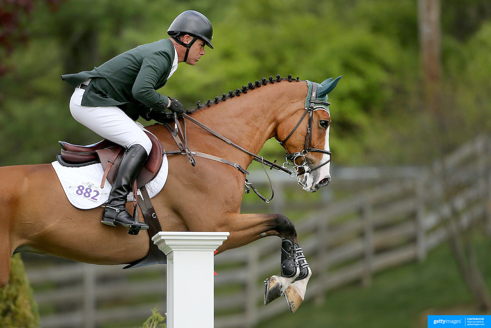 NORTH SALEM, NEW YORK - May 15: Jimmy Torano, USA, riding Quality, in action during The $50,000 Old Salem Farm Grand Prix presented by The Kincade Group at the Old Salem Farm Spring Horse Show on May 15, 2016 in North Salem. (Photo by Tim Clayton/Corbis via Getty Images)