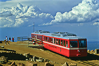 The Cog Railway carries tourist to the summit of 14,110 ft. Pikes Peak.  Colorado.