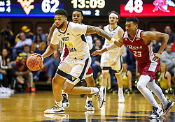 Nov 28, 2018; Morgantown, WV, USA; West Virginia Mountaineers forward Esa Ahmad (23) makes a steal and dribbles up the floor during the second half against the Rider Broncs at WVU Coliseum. Mandatory Credit: Ben Queen-USA TODAY Sports