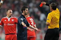 FOOTBALL - UEFA CHAMPIONS LEAGUE 2009/2010 - 1/2 FINAL - 1ST LEG - BAYERN MUNCHEN v OLYMPIQUE LYONNAIS - 21/04/2010 - RED CARD FRANCK RIBERY (BAYERN)<br /> PHOTO FRANCK FAUGERE / DPPI