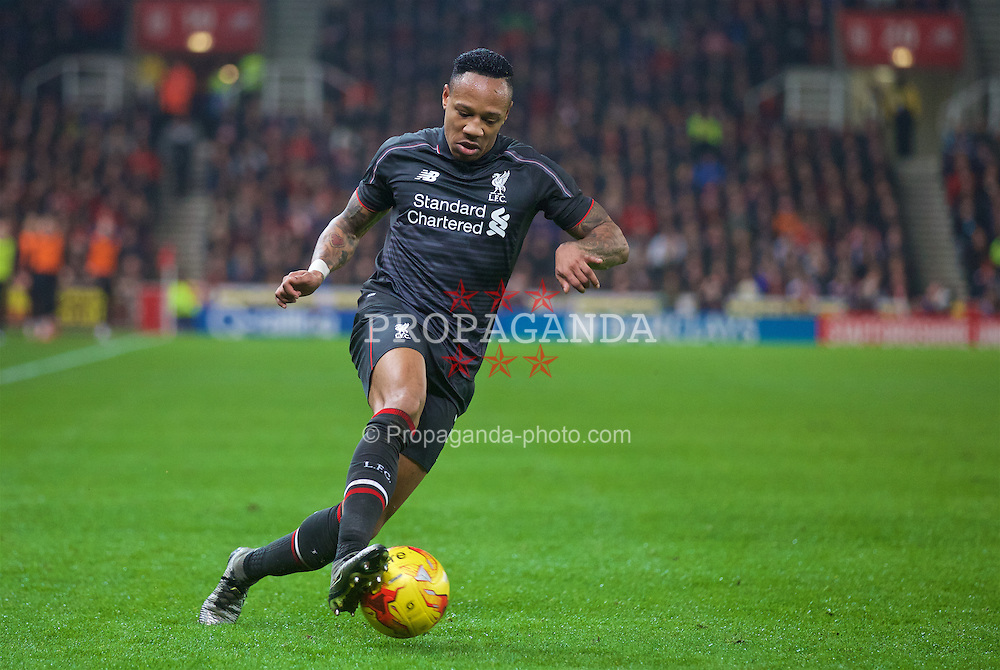 STOKE-ON-TRENT, ENGLAND - Tuesday, January 5, 2016: Liverpool's Nathaniel Clyne in action against Stoke City during the Football League Cup Semi-Final 1st Leg match at the Britannia Stadium. (Pic by David Rawcliffe/Propaganda)