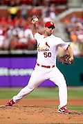 29 June 2010: St. Louis Cardinals starting pitcher Adam Wainwright (50) pitches to a Diamondback batter during the Cardinals game against Arizona   at Busch Stadium in St. Louis, Missouri. The Cardinals would shut out the Diamondbacks in nine.