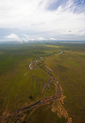 An inland waterway snakes across the Kimberley landscape west of Broome.