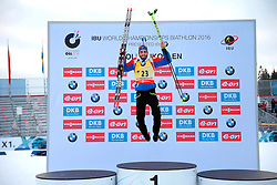 10.03.2016, Holmenkollen, Oslo, NOR, IBU Weltmeisterschaft Biathlon, Oslo, 20 km, Herren, im Bild Martin Fourcade (FRA) // during Mens 20 km individual Race of the IBU World Championships at the Holmenkollen in Oslo, Norway on 2016/03/10. EXPA Pictures © 2016, PhotoCredit: EXPA/ Pressesports/ MONS FREDERIC<br /> <br /> *****ATTENTION - for AUT, SLO, CRO, SRB, BIH, MAZ, POL only*****