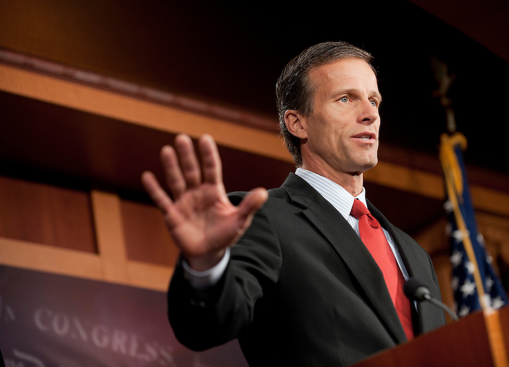 Dec 15, 2010 - Washington, District of Columbia, U.S. -  Senator JOHN THUNE (R-SD) speaks to the media during a news conference with Senator John Cornyn (R-TX) on their opposition to the omnibus spending bill. (Credit Image: © Pete Marovich/ZUMA Press)