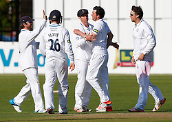Mark Footitt of Derbyshire celebrates after he bowls out Liam Norwell of Gloucestershire for a golden duck - Photo mandatory by-line: Rogan Thomson/JMP - 07966 386802 - 26/04/2015 - SPORT - CRICKET - Bristol, England - Bristol County Ground - Gloucestershire v Derbyshire — Day 1 - LV= County Championship Division Two.