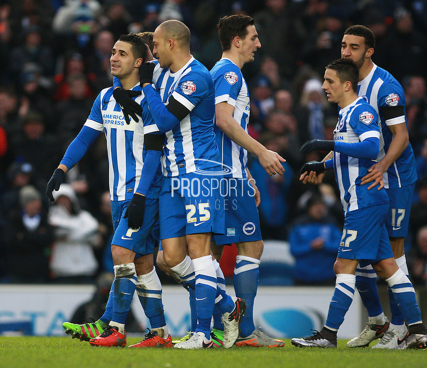 Brighton central midfielder Beram Kayal celebrates after scoring during the Sky Bet Championship match between Brighton and Hove Albion and Bolton Wanderers at the American Express Community Stadium, Brighton and Hove, England on 13 February 2016. Photo by Bennett Dean.