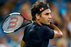 August 17, 2018 - Cincinnati, OH, U.S. - CINCINNATI, OH - AUGUST 17: Roger Federer (SUI) hits a forehand shot during the Western & Southern Open at the Lindner Family Tennis Center in Mason, Ohio on August 17, 2018. (Photo by Adam Lacy/Icon Sportswire) (Credit Image: © Adam Lacy/Icon SMI via ZUMA Press)