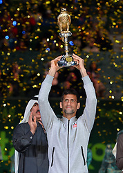 DOHA, Jan. 8, 2017  Novak Djokovic of Serbia holds the trophy during the awarding ceremony for the men's singles event of the Qatar ATP Open tennis tournament at the Khalifa International Tennis Complex in Doha, capital of Qatar, on Jan. 7, 2017. Novak Djokovic on Saturday beat Andy Murray of Britain 2-1 in the final to claim the title. (Credit Image: © Nikku/Xinhua via ZUMA Wire)