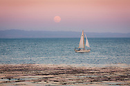 Sailboat at dusk in front of a super moon, Santa Cruz, California