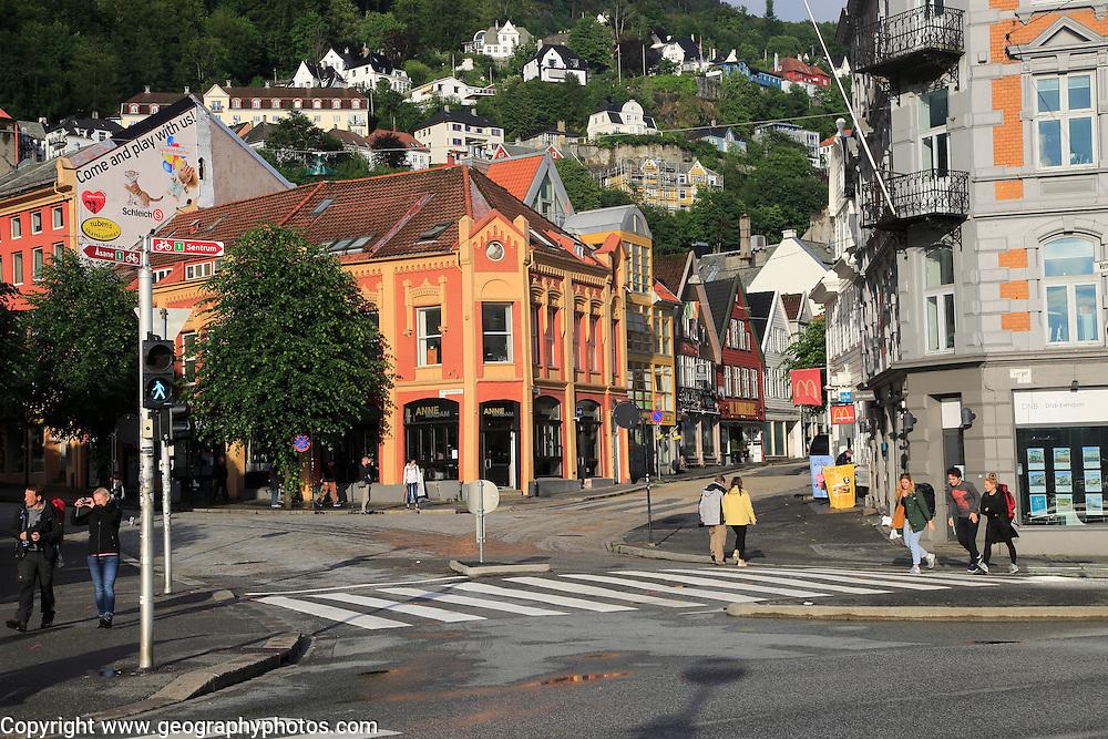 Historic buildings city centre, Kong Oscars gate street, Bergen, Norway