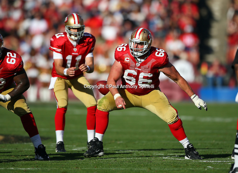 San Francisco 49ers center Eric Heitmann (66) pass blocks during the NFL football game against the Tennessee Titans, November 8, 2009 in San Francisco, California. The Titans won the game 34-27. (©Paul Anthony Spinelli)
