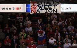 Fans of Canada and Russia at  ice-hockey game Canada vs Russia at finals of IIHF WC 2008 in Quebec City,  on May 18, 2008, in Colisee Pepsi, Quebec City, Quebec, Canada. Win of Russia 5:4 and Russians are now World Champions 2008. (Photo by Vid Ponikvar / Sportal Images)