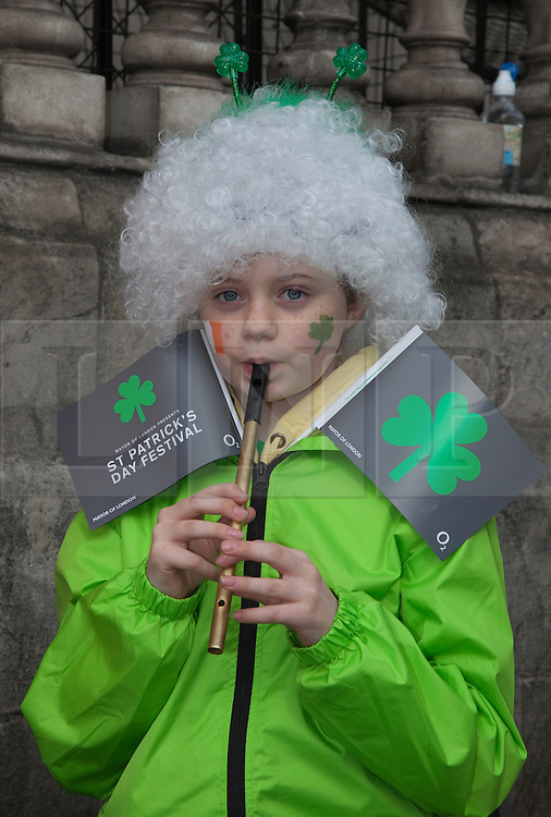© Licensed to London News Pictures. 18/03/2012. London, England. Kids Musicians from the group Rir Na Nog who play traditional Irish music. London celebrates St. Patrick's Day with a parade and festival. Photo credit: Bettina Strenske/LNP
