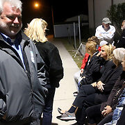 Candidates and supporters wait outside the Carolina Beach Recreation Center. (Jason A. Frizzelle)