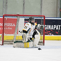 2nd year goalie Jane Kish (31) of the Regina Cougars  of the Regina Cougars  in action during the Women's Hockey home game on January 7 at Co-operators arena. Credit: Arthur Ward/Arthur Images