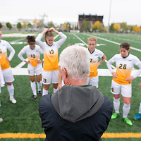 Bob Maltman (8th Season), Head Coach of the Regina Cougars women's soccer team during the Women's Soccer Homeopener on September 16 at U of R Field. Credit: Casey Marshall/Arthur Images