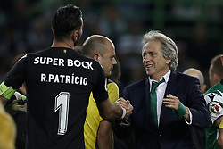 April 18, 2018 - Lisbon, Portugal - Sporting's coach Jorge Jesus (R) celebrates his team victory with Sporting's goalkeeper Rui Patricio (L)   at end of Portuguese Cup 2017/18 match between Sporting CP vs FC Porto, in Lisbon, on April 18, 2018. (Credit Image: © Carlos Palma/NurPhoto via ZUMA Press)