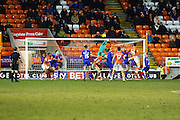 Last minute save from Oldham Athletic Goalkeeper, Joel Coleman during the Sky Bet League 1 match between Blackpool and Oldham Athletic at Bloomfield Road, Blackpool, England on 16 February 2016. Photo by Pete Burns.