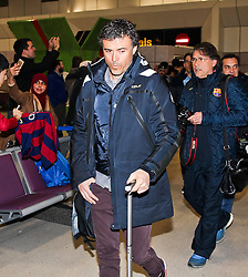Barcelona Manager Luis Enrique arrives at Manchester Airport with the squad ahead of the UEFA Champions League tie against Manchester City - Photo mandatory by-line: Matt McNulty/JMP - Mobile: 07966 386802 - 23/02/2015 - SPORT - Football - Manchester - Manchester Airport