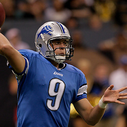 2009 September 13: Detroit Lions rookie quarterback Matthew Stafford (9) passes the ball during a 45-27 win by the New Orleans Saints over the Detroit Lions at the Louisiana Superdome in New Orleans, Louisiana.
