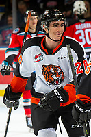 KELOWNA, BC - NOVEMBER 8: Trevor Longo #20 of the Medicine Hat Tigers celebrates a goal against the Kelowna Rockets  at Prospera Place on November 8, 2019 in Kelowna, Canada. (Photo by Marissa Baecker/Shoot the Breeze)