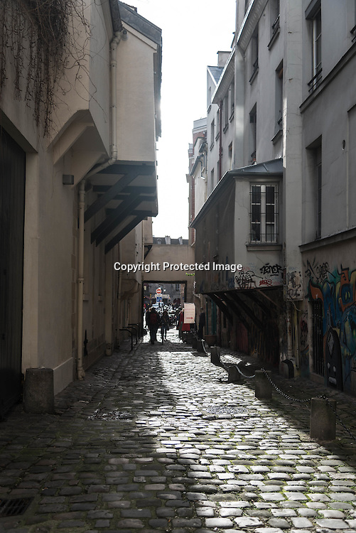 Paris , Le marais district. impasse des arbaletriers, middle age street