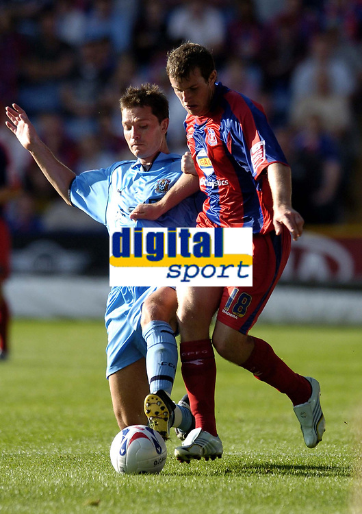 Photo: Olly Greenwood.<br />Crystal Palace v Coventry City. Coca Cola Championship. 23/09/2006. Palace's Gary Borrowdale and Coventy's David McNamee
