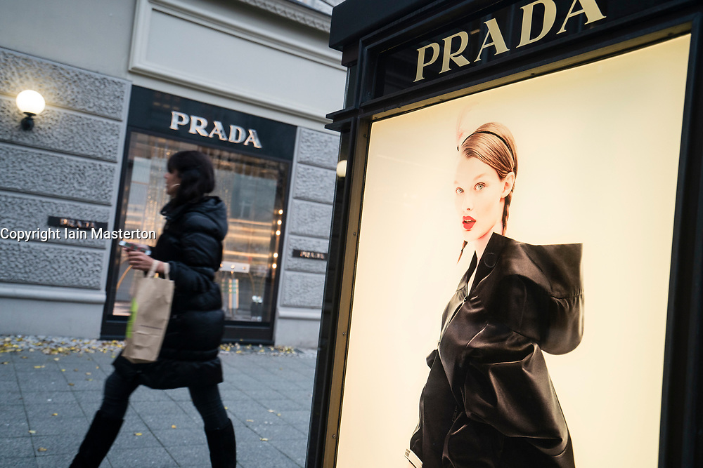 Glass display cabinet for luxury boutique Prada on famous shopping street Kurfurstendamm , Kudamm, in Berlin, Germany.