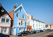 Attractive colourful bright historic buildings in Aldeburgh, Suffolk, England