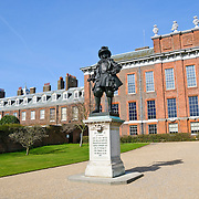 Kensington Palace adjacent to Hyde Park, London, with statue of King William of Orange...Kensington Palace is a royal residence set in Kensington Gardens in the Royal Borough of Kensington and Chelsea in London, England. It has been a residence of the British Royal Family since the 17th century. Today it is the official residence of The Duke and Duchess of Gloucester; the Duke and Duchess of Kent; and Prince and Princess Michael of Kent. Kensington Palace is also used on an unofficial basis by Prince Henry, as well as his cousin Zara Phillips...Until 1997, it was the official residence of Diana, Princess of Wales and of Princess Margaret until 2002.