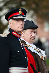 Lord Lieutenant of South Yorkshire Mr David Moody and Councillor Tim Shepherd at Barnsley War Memorial on remembrance Sunday Barnsley Marks the Centenary of the out break of World War I<br /> <br /> 09 November 2014<br /> <br /> Image © Paul David Drabble <br /> <br /> www.pauldaviddrabble.co.uk