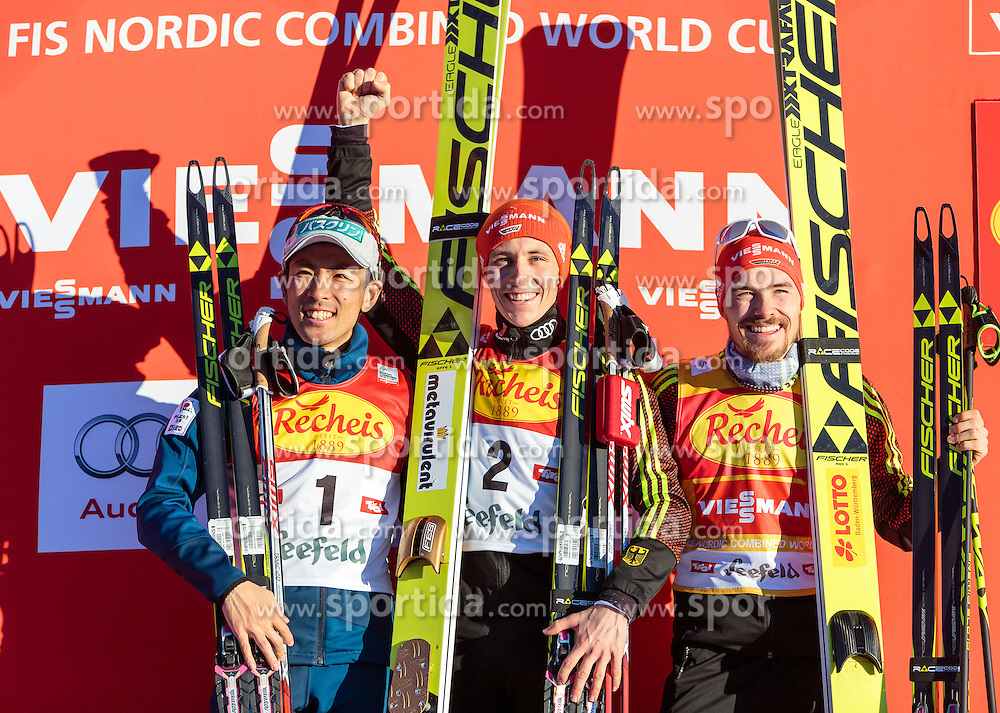 29.01.2016, Casino Arena, Seefeld, AUT, FIS Weltcup Nordische Kombination, Seefeld Triple, Siegerehrung, im Bild v.l.: Akito Watabe (JPN, 2. Platz), Sieger Eric Frenzel (GER) und Fabian Riessle (GER, 3. Platz) // f.l.: 2nd placed Akito Watabe of Japan Winner Eric Frenzel of Germany and 3rd placed Fabian Riessle of Germany celebrate on Podium after the 1st Day of the FIS Nordic Combined World Cup Seefeld Triple at the Casino Arena in Seefeld, Austria on 2016/01/29. EXPA Pictures © 2016, PhotoCredit: EXPA/ JFK