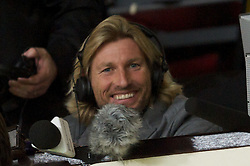MANCHESTER, ENGLAND - Tuesday, October 26, 2010: Former Manchester United trainee and Wales international Robbie Savage in the press box working for BBC Radio Five Live during the Football League Cup 4th Round match between Manchester United and Wolverhampton Wanderers at Old Trafford. (Pic by: David Rawcliffe/Propaganda)