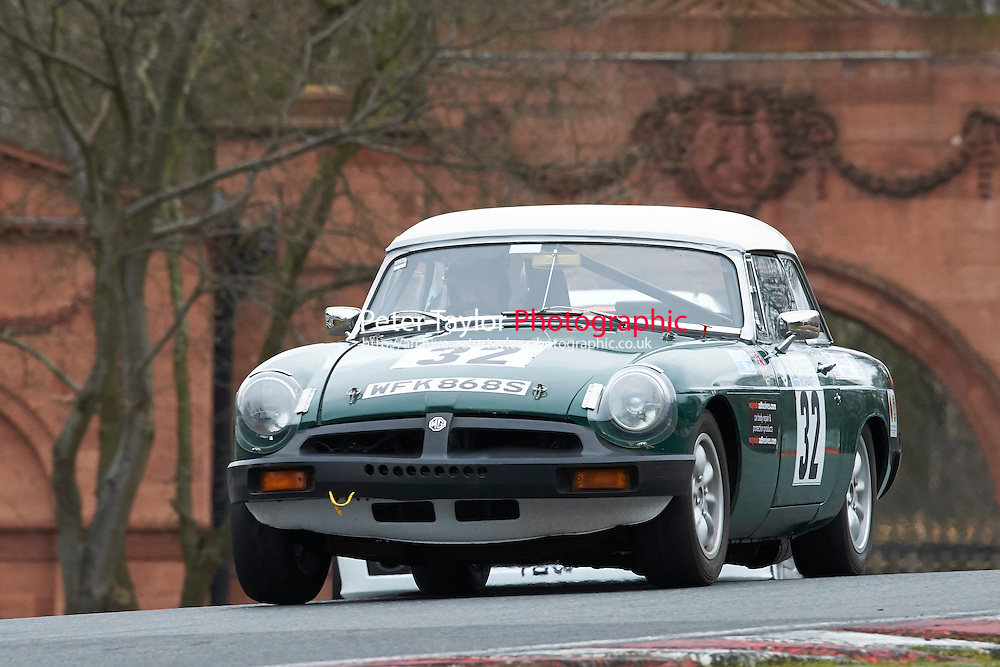 #32 Nick WEBSTER MG B Roadster 1800 during Lancaster Insurance MG Owners Club Championship as part of the BARC NW - Championship Raceday  at Oulton Park, Little Budworth, Cheshire, United Kingdom. March 19 2016. World Copyright Peter Taylor/PSP. Copy of publication required for printed pictures.  Every used picture is fee-liable. http://archive.petertaylor-photographic.co.uk