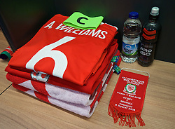 CARDIFF, WALES - Sunday, October 9, 2016: The Wales shirt of captain Ashley Williams in the dressing room before the 2018 FIFA World Cup Qualifying Group D match against Georgia at the Cardiff City Stadium. (Pic by David Rawcliffe/Propaganda)