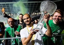 Dario Canadzija of NK Olimpija celebrates with fans after winning during football match between NK Aluminij and NK Olimpija Ljubljana in the Final of Slovenian Football Cup 2017/18, on May 30, 2018 in SRC Stozice, Ljubljana, Slovenia. Photo by Vid Ponikvar / Sportida