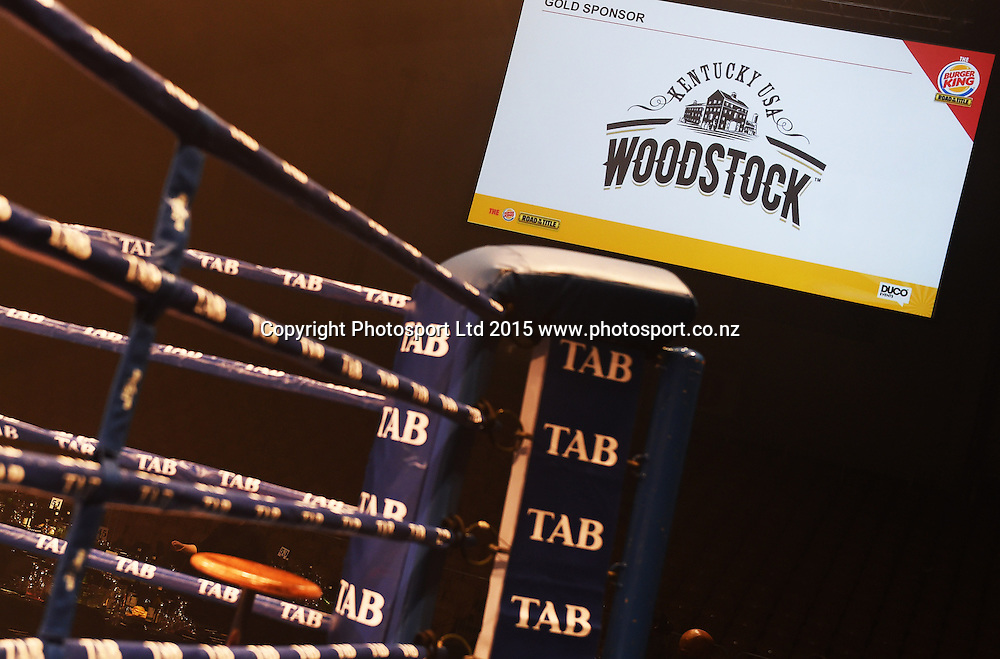 Sponsors signage at the Heavyweight boxing match between Parker and Saglam. Burger King Road to the Title by Duco Boxing. Arena Manawatu, Palmerston North, New Zealand, Saturday 13 June 2015. Copyright photo: Andrew Cornaga / www.photosport.co.nz