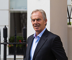 London, July 6th 2017. Former British  Prime Minister Tony Blair leaves his office following Sir John Chilcot's assertion that he hadn't been straight with the people of Britain over the need to go to war with Iraq.
