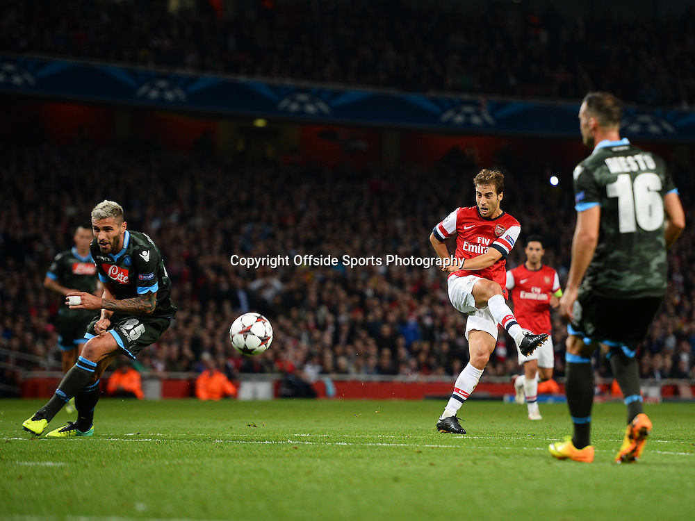 1st October 2013 - UEFA Champions  League (Group F) - Arsenal v Napoli - Valon Behrami of Napoli blocks a shot from Mathieu Flamini of Arsenal - Photo: Marc Atkins / Offside.