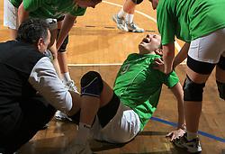 Nina Jericek injured at Women Slovenian Handball Cup, finals match between RK Olimpija and RK Krim Mercator, on April 5, 2009, in Arena Tivoli, Ljubljana, Slovenia.  Won of Krim 32:29 and became Slovenian Cup Champion. (Photo by Vid Ponikvar / Sportida)