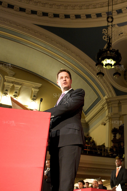 British Liberal Democrat Party leader, Nick Clegg give a speech in the Citizens UK General Election Assembly, organised by Citizens UK, at the Methodist Centre Hall, Westminster on May 3, 2010 in London, England.