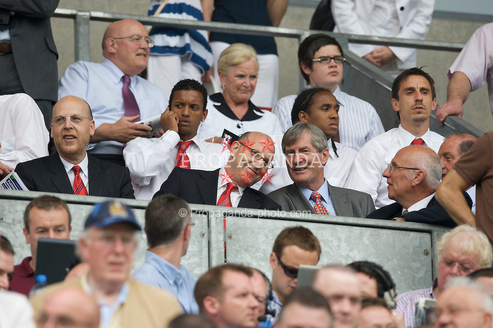 WIGAN, ENGLAND - Sunday, May 11, 2008: Manchester United's owners the Glazier brothers with former Chief-Executive Martin Edwards before the final Premiership match of the season against Wigan Athletic at the JJB Stadium. (Photo by David Rawcliffe/Propaganda)