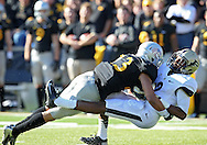 November 10 2012: Iowa Hawkeyes wide receiver Jordan Cotton (23) hits Purdue Boilermakers punt returner Frankie Williams (2) on a punt return during the NCAA football game between the Purdue Boilermakers and the Iowa Hawkeyes at Kinnick Stadium in Iowa City, Iowa on Saturday, November 10, 2012. Purdue defeated Iowa 27-24.