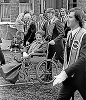 Twelfth, 12th of July, Orangemen's parade, Belfast, N Ireland, UK, 1973 - even being wheelchair-bound is not a reason to miss the big day. 197307120503a<br />