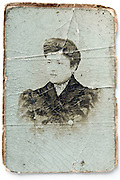 Carte de Visite style deteriorating and crackled female portrait photograph late 1800s